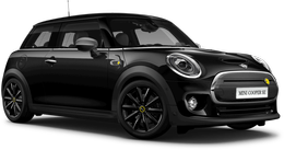En midnight black metallic Cooper SE Hatch