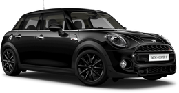 En midnight black metallic Cooper S 5-dörrar