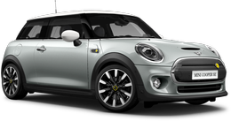 En white silver metallic Cooper SE Hatch