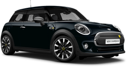 En enigmatic black metallic Cooper SE Hatch