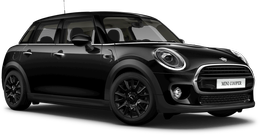 En midnight black metallic Cooper 5-dørs