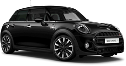 En midnight black metallic Cooper S 5-dörrar