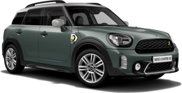 En sage green metallic Cooper SE ALL4 Countryman