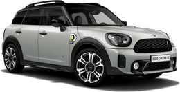 En white silver metallic Cooper SE ALL4 Countryman